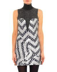 KENZO Gray Metallic-foil Boiled-wool Dress
