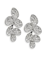 Ak Anne Klein | Metallic White Stone Cluster Drop Earrings | Lyst