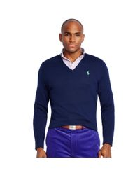 Ralph Lauren | Blue Merino Wool V-neck Sweater for Men | Lyst