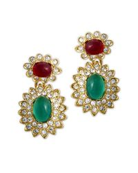 Kenneth Jay Lane | Multicolor Emerald & Ruby Drop Clip Earring | Lyst