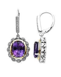 Lord & Taylor | Purple Sterling Silver With 14 Kt. Yellow Gold Amethyst Earrings | Lyst
