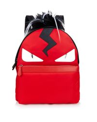 80acd554bd09 Lyst - Fendi Bag Bugs Leather And Nylon Backpack in Red for Men