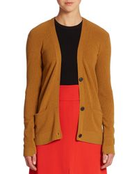 A.L.C. - Brown Phillip Ribbed Cardigan Sweater - Lyst