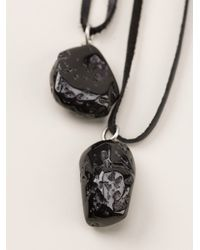 Ann Demeulemeester Black Pending Stone Necklace