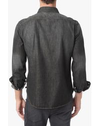 7 For All Mankind Gray Washed Down Trucker Shirt In Grey Black for men