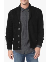 7 For All Mankind | Cable Shawl Cardigan In Black for Men | Lyst