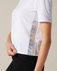 7 For All Mankind Mock Neck Top Cotton White Silver Laminated Outseam Stripe