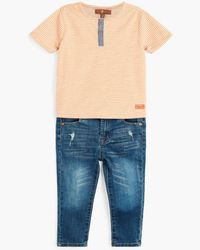 7 For All Mankind - Blue Boy's 12-24m Henley & Jean In Salmon Buff Stripe for Men - Lyst
