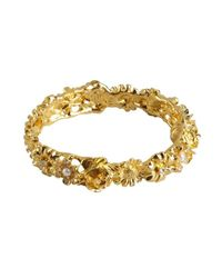 Kenneth Jay Lane | Metallic Gold And Crystal Flower Snap Bracelet | Lyst