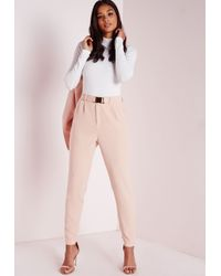 Missguided Multicolor Gold Buckle Detail Cigarette Pants Nude