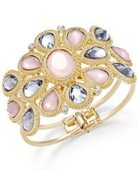 INC International Concepts - Metallic Gold-tone Pink And Black Stone Floral Hinge Bangle Bracelet - Lyst