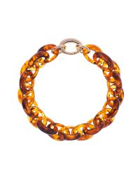 Karen Millen | Orange Resin Oval Link Necklace | Lyst