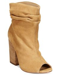 Chinese Laundry | Natural Break Up Peep-toe Suede Slouchy Booties | Lyst