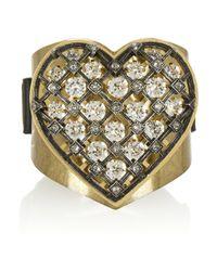 Lanvin | Metallic Mira Goldtone Swarovski Crystal Heart Bracelet | Lyst