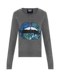 Markus Lupfer - Gray Lips Sequins Cardigan - Lyst
