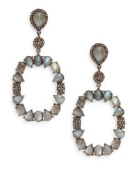 Bavna | Metallic Labradorite, Champagne Diamond & Sterling Silver Drop Earrings | Lyst