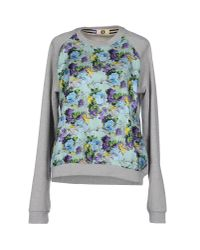 MSGM - Gray Floral Raglan Sweatshirt - Lyst