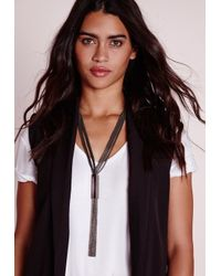 Missguided | Tassel Necklace Metal Trim Black | Lyst