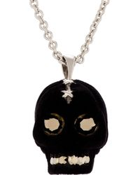 Alexander McQueen | Metallic Black Velvet and Silver_tone Studded Skull Necklace for Men | Lyst