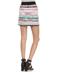 MILLY Purple Couture Illusion Striped Mini Skirt