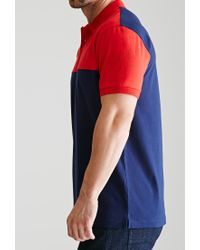 Forever 21 | Blue Colorblocked Cotton Polo | Lyst