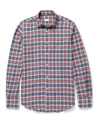 Incotex Blue Check Brushed Cottonflannel Shirt for men