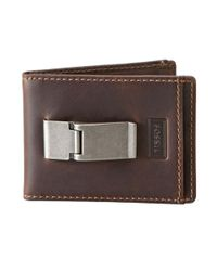 Fossil Brown Sam Leather Id Bifold Wallet for men