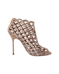 Sergio Rossi Metallic Crystal Cutout Shoe Bootie