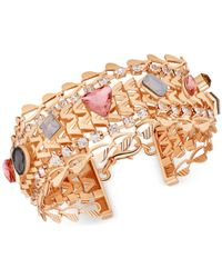Guess - Metallic Gold-tone Multi-stone And Crystal Chain Bracelet - Lyst