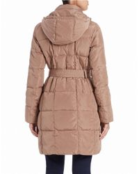 Ellen Tracy | Brown Belted Puffer | Lyst