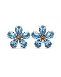 Dolce & Gabbana | Blue Embellished Clip-on Earrings | Lyst
