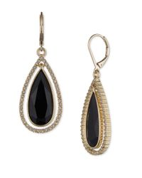 Anne Klein | Metallic Jet And Pave Teardrop Earrings | Lyst