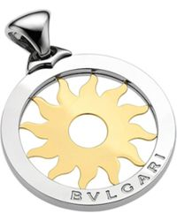 BVLGARI | Metallic Tondo 18ct Yellow-gold And Steel Sun Pendant | Lyst