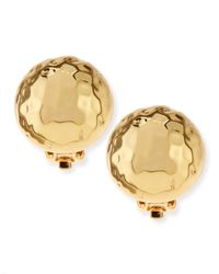 Nest | Metallic Clip-On Hammered Gold-Plated Half-Ball Stud Earrings | Lyst