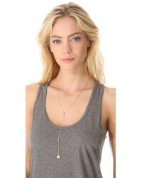 Jennifer Zeuner Metallic Heart Lariat Necklace