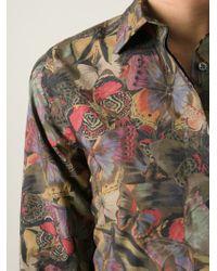 Valentino Green Butterfly Print Shirt