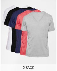 ASOS | Multicolor T-shirt With V Neck 5 Pack Save 23% for Men | Lyst