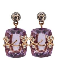 Federica Rettore | Pink Amethyst And Diamond Drop Earrings | Lyst