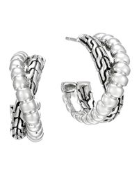 John Hardy | Metallic Classic Chain Silver Small Twist Hoop Earrings | Lyst