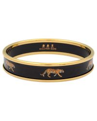 Halcyon Days | Black 18ct Gold Plated Enamel Running Tiger Bangle | Lyst