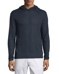 Theory Multicolor Colton Hooded Long-sleeve Linen T-shirt for men
