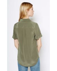 Equipment | Green Short Sleeve Slim Signature Silk Shirt | Lyst