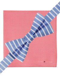 Tommy Hilfiger - Blue Vertical-Stripe Pre-Tied Bow Tie & Dot Pocket Square Set for Men - Lyst