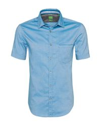 BOSS Green | Blue 'byolo' | Regular Fit, Cotton Oxford Button Down Shirt for Men | Lyst
