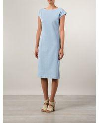 Tomas Maier Blue Boat Neck Dress