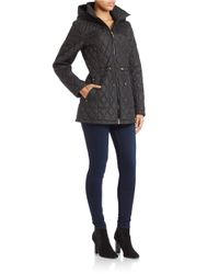 Ellen Tracy | Black Hooded Quilted Jacket | Lyst