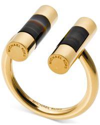 Michael Kors - Metallic Gold-tone Opaque Stone Bar Open Cuff Ring - Lyst