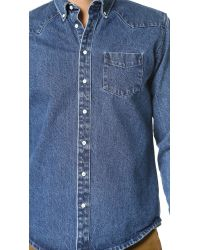 Schnayderman's Blue Leisure Western Jean Shirt for men