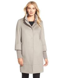 Cinzia Rocca - Natural Knit Trim Stand Collar Wool Coat - Lyst
