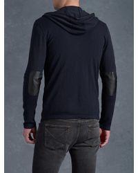 John Varvatos Blue Zip Front Sweater Hoodie for men